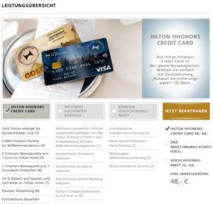 Hilton HHonors Credit Card Leistungen