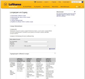 Lufthansa Loungetypen und Zugang